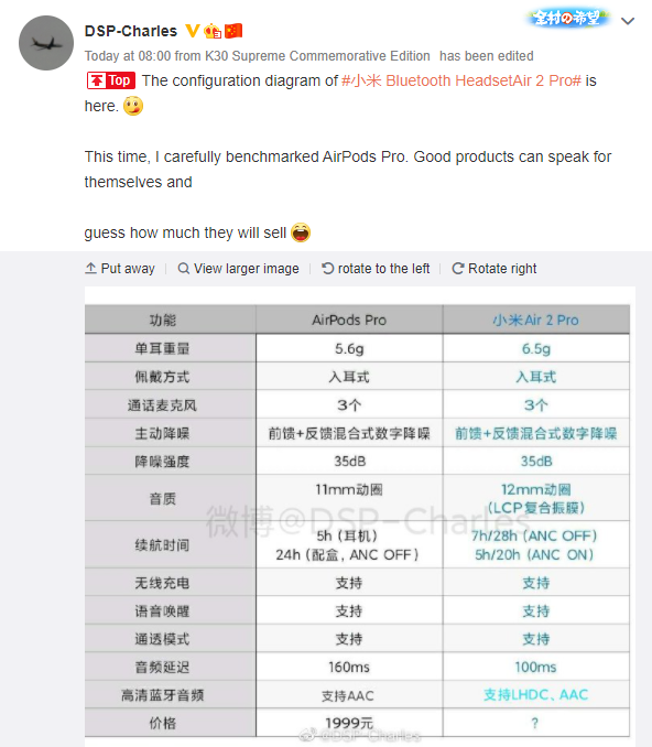Xiaomi Mi Air 2 Pro Specifications, features, and live images leaked online ahead of launch