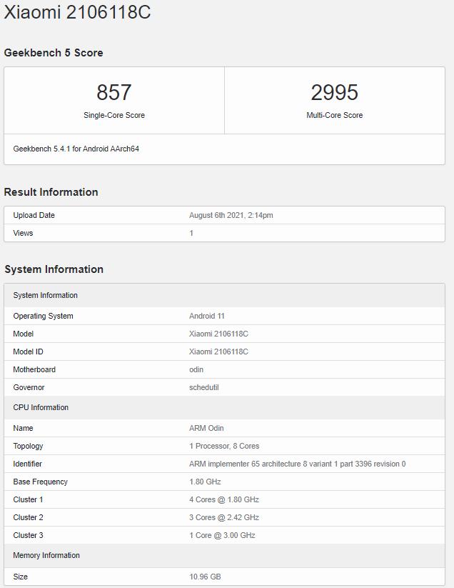 Xiaomi Mi Mix 4 Geekbench Listing