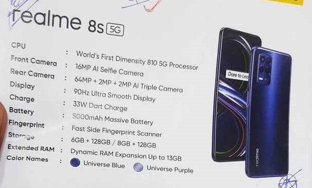 Realme 8s 5G and Realme 8i Specifications leaked ahead of launch